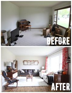 See how this living room was transformed on a budget using thrifted items! www.BrightGreenDoor.com
