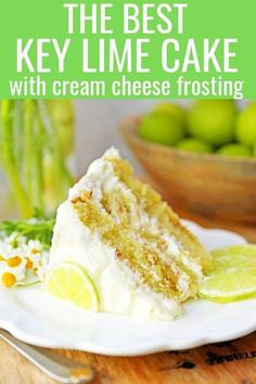 Key Lime Cake with Cream Cheese Frosting. Moist key lime cake with sweet cream cheese frosting. A light and fluffy citrus lime cake with the perfect lime buttercream frosting! The BEST Lime Cake Recipe! www.modernhoney.com #limecake #keylimecake #citruscake Key Lime Pound Cake, Key Lime Cake, Key Lime Pie Cake Recipe, Key Lime Cupcakes, Keylime Cake Recipe, Key Lime Frosting Recipes, Happy Cake Recipe, Recipe Key, Key Lime Desserts
