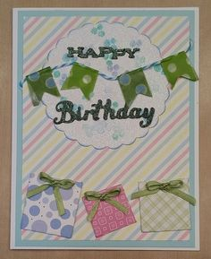I had fun making this card....using a variety of techniques.  I used a dot stamp to create my own background of the circle and then sprayed with diamond dust..  I made the banner/flags with twine and washi tape.  And the gifts are made from die cut squares and wrapped in patterned papers.