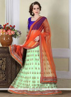 Style and design and pattern will be at the peak of your beauty after you dresses this sea green net a line lehenga choli. The embroidered, patch border and resham work appears to be chic and great fo...