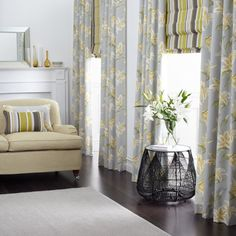Curtain and Roman blind combination manufactured by BQ Design. Warwick Fabrics : LILY  DRAPERY HANGER