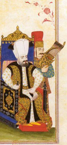 Süleyman II. (reg. 1687-1691) Süleyman II. kam nach der Absetzung seines Bruders Mehmet IV. (reg. 1648-1687) auf den Thron. Die Miniatur zeigt ihn thronend, mit einem Taschentuch in der Hand, das Attribut der Sultane Kultiviertheit und gehobenen Lebensstil symbolisiert.