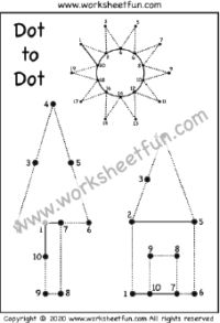 Dot to Dot – Tracing – Numbers 1-20 – Tree, House and Star – One Worksheet / FREE Printable Worksheets – Worksheetfun Kindergarten Addition Worksheets, Fun Worksheets For Kids, Printable Preschool Worksheets, Free Preschool, Free Math, Free Printables, Letter Tracing Worksheets, Writing Worksheets, Toddler Learning Activities