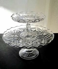 TWO EXTRA FANCY EAPG ANTIQUE AMERICAN CAKE PLATE STANDS