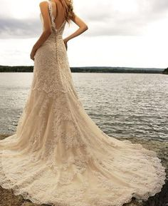 This may just be the perfect wedding dress! Lace V Neck Ivory Watteau Bead Sheath Wedding Dress