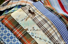 Strip pieced quilt with men's shirts, inspired by the jelly roll race. made from the collars and yokes