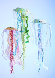 Sally Lee by the Sea Coastal Lifestyle Blog: Coastal Craft: Jellyfish Project for Spring Break! Pinterest Crafts For Kids, Ocean Theme Crafts, Diy Jewelry Making, Jellyfish, Preschool Crafts, Diy Tutorial, Lanterns, Cord, Vacations