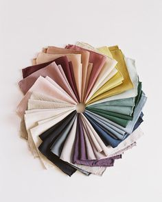 Tono + co Silk Hankie color wheel. Lovingly hand-dyed in Santa Ana, California and available in 24 signature colors. Check out our website for more color theory, styling, and wedding inspiration. Hijabs, Scarf Display, Fabric Photography, Mode Hijab, Square Scarf, Colour Schemes, Color Inspiration, Wedding Inspiration, Swatch