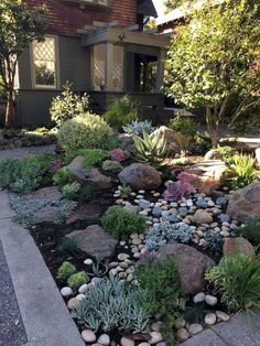 streetside xeriscaping in st george utah - Google Search Small Front Yard Landscaping, Front Yard Design, Landscaping With Rocks, Backyard Landscaping, Landscaping Design, Backyard Ideas, Porch Ideas, Front Patio Ideas, Decorative Rock Landscaping