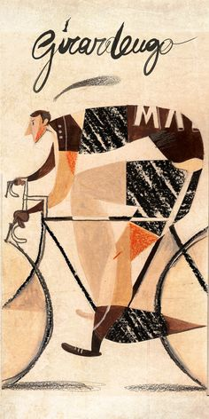 Riccardo Guasco illustration of Costante Girardengo for the theatre production of Quella sera al Vel d'Hiver Bike Illustration, Bike Poster, Bicycle Art, Bicycle Design, Design Poster, Cycling Art, Graphic Art, Vintage Posters, Illustrators