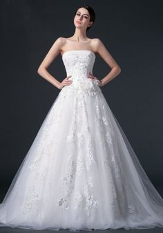 Strapless Chapel Train Tulle Ball Gown Wedding Dress