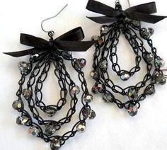 Earrings Crochet Wire Satin Ribbon Bow by MegsCrochetJewels
