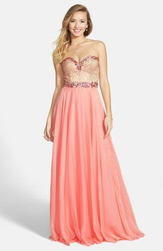 Sherri Hill Embellished Bodice Strapless Chiffon Gown available at #Nordstrom