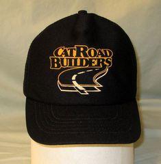 5d8ec6fec10 Cat Caterpillar Snapback Hat CatRoad Builders Mesh Trucker Cap Black Made  in USA