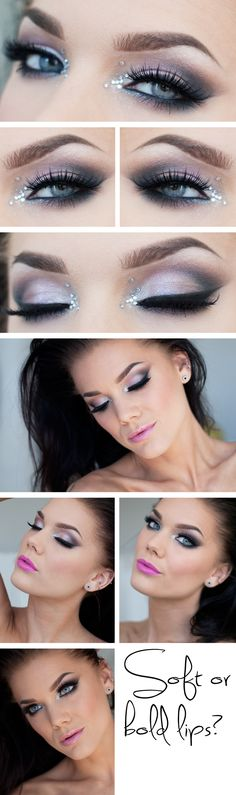 """Today's Look : """"Parachute"""" -Linda Hallberg ( soft pink shadows create the perfect light smokey eye, and I love the way she shows a bright pink as well as barely there lip with this look) 05/07/13"""