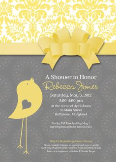 Baby Bird Theme Baby Shower Invitation with Bow Grey and Yellow.