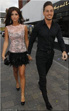 TOWIE star Lucy Mecklenburgh in McBerry Beige Lace Feather Dress