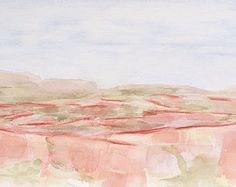 """Bounds of the land 2. Abstract original watercolor landscape painting. cca.5""""x 8"""""""