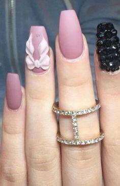 Pink bow matte nails design nailart with black rhinestones