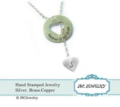 Lariat Heart Necklace Hand Stamped Custom by JSCJewelry on Etsy