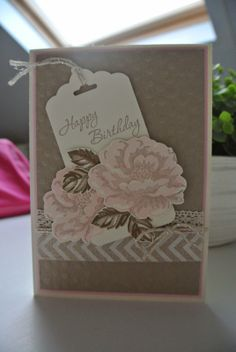 Stippled Blossoms, Scalloped Tag Topper punch, Crumb Cake, Pink Pirouette Stampin Up by Cards and Scrapping