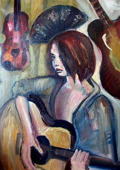 Girl with Guitar | Alex Solodov Contemporary Art