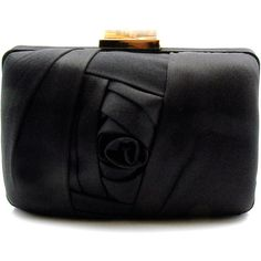 """Franchi """"Angela"""" Black Satin Clutch (230 AUD) ❤ liked on Polyvore featuring bags, handbags, clutches, purses, bolsas, bolsos, handbags & purses, black clutches, black handbags and hand bags"""