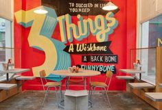 Cool typographic mural in a London eatery