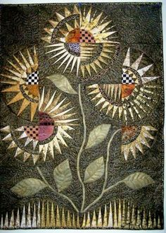 """""""Winter Garden"""" by marytequilts ~ interesting New York Beauty variation garden interest Winter Garden quilted wall hanging Circle Quilts, Star Quilts, Mini Quilts, Paper Piecing Patterns, Quilt Patterns, Quilting Projects, Quilting Designs, Sunflower Quilts, Quilt Modernen"""