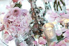 Tischdeko mit #Hortensien zur Hochzeit  #Tischdeko #Tischdekoration #centerpiece #Blumen #Flowers #Hochzeit #wedding
