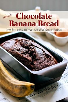 A moist rich dense low-fat chocolate banana bread infused with cocoa and speckled with miniature chocolate chips - 6 Weight Watchers Freestyle SmartPoints! #simplenourishedliving #weightwatchers #ww #wwfamily