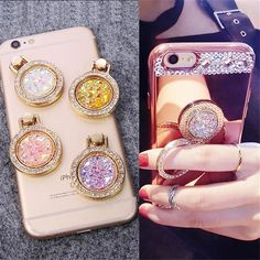 Luxury Diamond Finger Ring Holder Crystal Rhinestone Glitter Mirror Case  With Gem Holders Stand For iphone f5386d08ca00