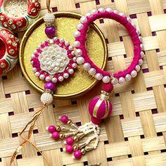 Beautifully Pearl Crafted Bangle Lumba N Rakhi Gift For Raksha Bandhan, Rakhi Day, Handmade Rakhi Designs, Rakhi Festival, Rakhi For Brother, Rakhi Online, Pearl Crafts, Silk Bangles, Cardboard Design