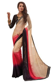 #Pink And #Beige And #Black #Georgette #Saree With #Blouse  #Pink And #Beige And #Black #Georgette #Saree designed with #Heavy #Zari,#Resham #Embroidery With #Stone Work And #Lace Border.  INR: 3,462.00  With Exclusive Discount     Grab : http://tinyurl.com/h6myyoe
