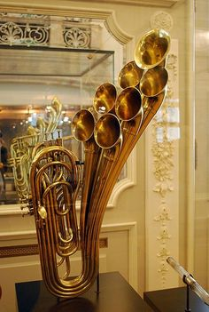 Antique Brass Instrument on display at the Musical Instrument Museum in Brussels, Belgium.