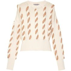 Sportmax Gatti sweater ($795) ❤ liked on Polyvore featuring tops, sweaters, print crop top, cream top, print top, crop top and cream sweater