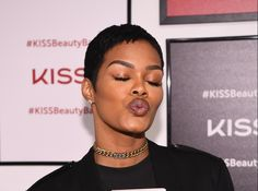 Teyana Taylor puckers and flutters for Kiss Products' pop-up beauty bar  ||  Teyana Taylor puckers and flutters for Kiss Products' pop-up beauty bar By Yvette Caslin   3:31 PM EST NEW YORK, NY – SEPTEMBER 28: Actress Teyana Taylor attends Beauty Bar By KISS on September 28, 2017 in New York City. (Photo by Dave Kotinsky/Getty Images for KISS Products, Inc.)  Teyana Taylor unveiled the #KISSBeautyBar…