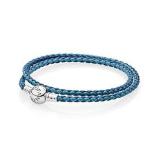 0b1560e28 Pandora silver 925 590747cbmx-d1 mixed blue double leather bracelet 13.8