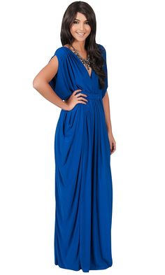 KOH KOH Womens Long V-Neck Summer Sexy Gown Grecian Flowy Sleeveless Maxi Dress $49