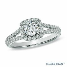 Diamond Engagement Ring with double split shank in 14K White Gold from Zales