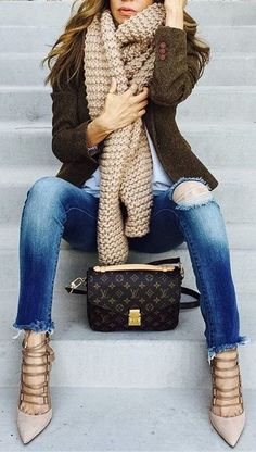 #fall #outfits · Wool Scarf // Green Jacket // Destroyed Jeans // Studded Pumps
