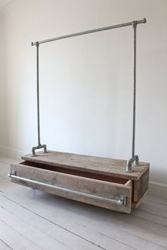 Pia galvanized steel tube clothes rail with scrap wood scaffolding wood drawer unit - customized urban industrial bedroom or shop fit furniture Industrial Bedroom, Industrial Interiors, Industrial Style, Urban Industrial, Industrial Pipe, Industrial Design, Industrial Shelving, Industrial Wallpaper, Industrial Closet