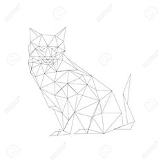 Origami Cat Line Drawing