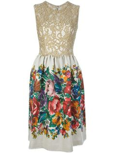 Dolce and Gabbana Floral Print And Lace Dress