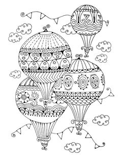 hot air balloon adult free printable colouring page | hot air ... - Hot Air Balloon Pictures Color