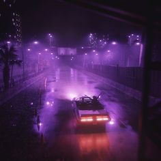 Car cabrio in the night neon colors futuristic city highway Dark Purple Aesthetic, Violet Aesthetic, Neon Aesthetic, Night Aesthetic, Bedroom Wall Collage, Photo Wall Collage, Picture Wall, Late Night Drives, Arte Hip Hop