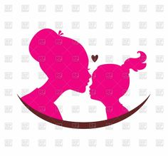Mom and daughter love - black silhouette of heads with heart . Mother Daughter Quotes, Mother And Child, Daughter Love, Silhouette Clip Art, Black Silhouette, Free Vector Clipart, Vector Graphics, Free Mom, Tattoos For Daughters