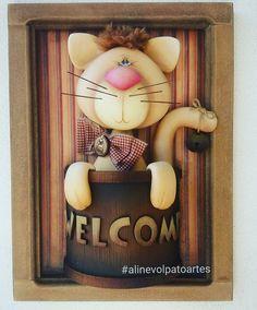 Gato Welcome Biscuit country, cold  porcelan, porcelana en frio,ceramica al frio