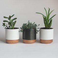Set Of Three Metal And Wood Succulent Planters Concrete Plant Pots