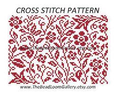 cross stitch floral pattern monochrome - Sök på Google